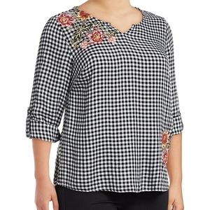 Style & Co Gingham embroidered floral top